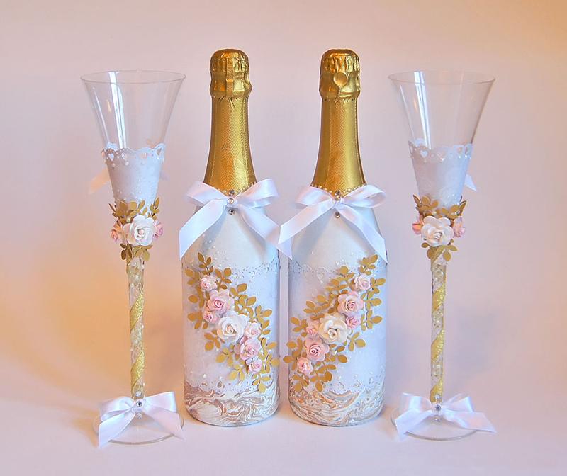 Свадебное шампанское украсить